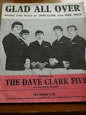 Vintage CPFC Glad All Over Music Sheet Dave Clark Five