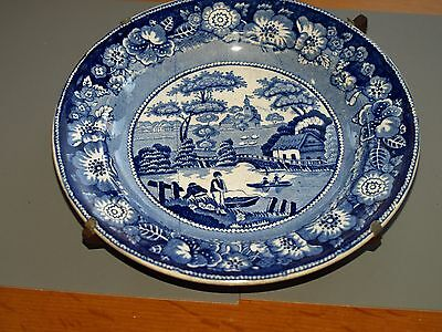 Blue and white Wild Rose transfer plate 1835 Podmore Walker Staffs on stand  9""