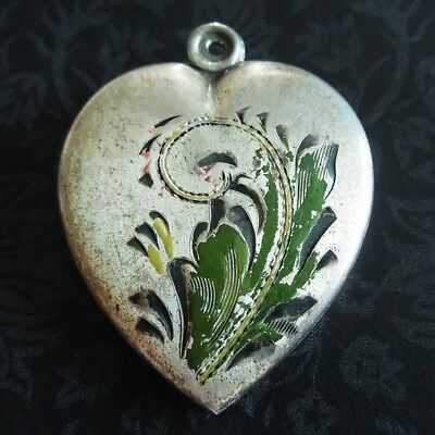 Vintage 1940s Enamel LEAF OVERSIZED PUFFY HEART Sterling Silver Charm