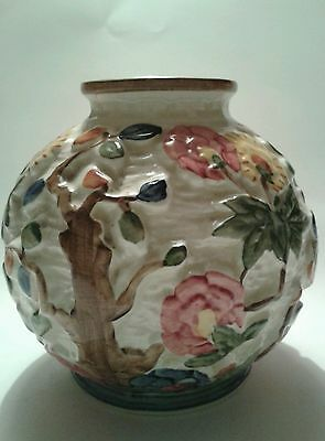 Lovely H J Wood Ltd hand painted Art Deco Indian tree vase in vgc