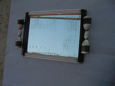 27630 altes Tablett Art Deco Holz Alu Glas Tray wood Alu Bauhaus Spiegel 35x24