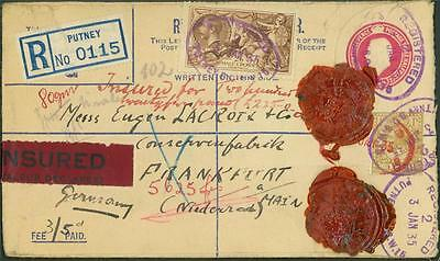 1935 Registered Postal Stationery uprated 2/6 Seahorse + 1/- INSURED to Germany