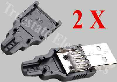 2 x Male USB 2.0 Type A, 4 Pin Snapon Plug DIY Solder, Black Shell, Top Quality.