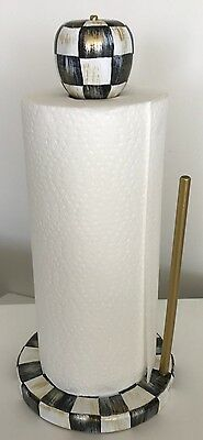 MY OWN Hand Painted Paper Towel Holder - Black & White Checks