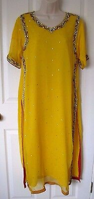 Pakistani Indian Yellow Red Green Salwar Shalwar Kameez Mehndi Eid Party Wear