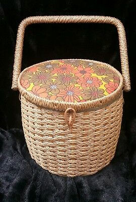 Vintage Japan Wicker Round Sewing Basket Box Floral  Lid and inside