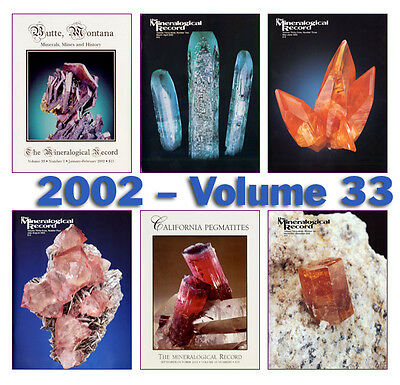 Mineralogical Record 2002 Volume 33  (Number ONE thru SIX) - Pristine