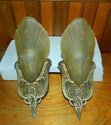 Pair of Vintage Art Deco Wall Sconces with Glass Fan Slip Shades