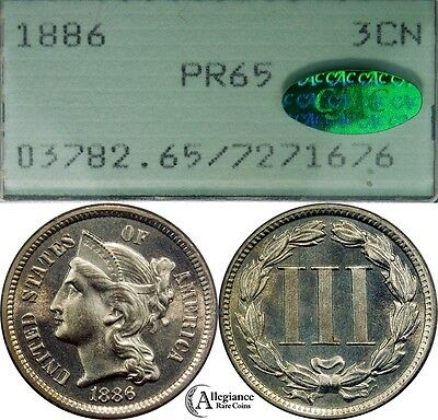 1886 Three Cent Nickel PCGS & CAC PCGS PR65 rare old proof coin CHOICE GEM COIN!