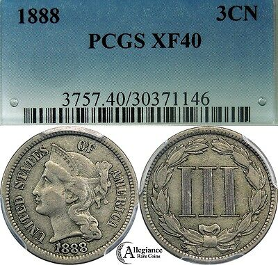 1888 Three Cent Nickel PCGS XF40 rare classic old type coin KEY DATE BETTER COIN