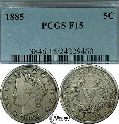 "1885 Liberty ""V"" Nickel PCGS F15 rare old type coin KEY DATE better grade 5c"