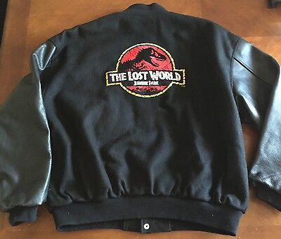 Rare! Black THE LOST WORLD JURASSIC PARK Varsity Letterman Jacket Sz XL Amblin