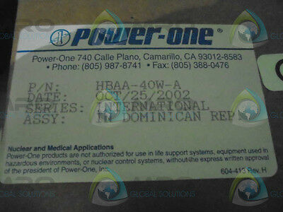 Power-One Hbaa-40W-A Power Supply *new In Box*