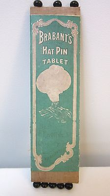 Antique Brabant's Black Porcelain Hatpins Tablet Original Packaging England
