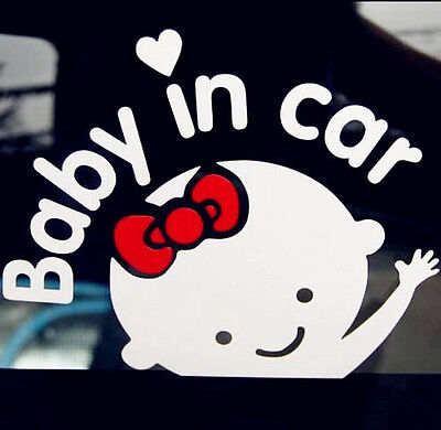 Wholesale Lot 9 pcs Baby In Car Baby Girl On Board White/Clear Auto Sticker
