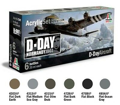 a ITALERI ACRYLIC PAINT 445AP - Set 6 Colori Acrilici - D-Day Aircraft