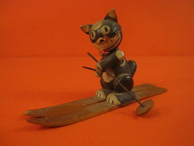 All Original 1920 Felix The Cat On Skis Wooden Miniature Germany
