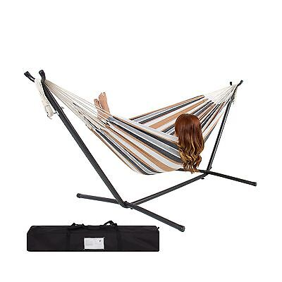 Best Choice Products Double Hammock With Space Saving Steel Stand Includes Po...