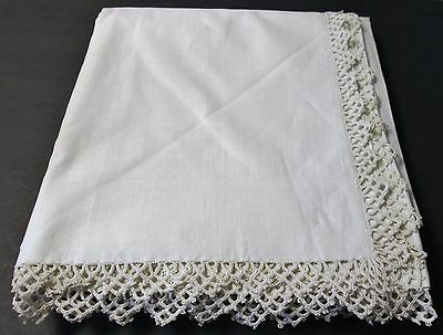 Antique MOHAWK Sheet Hand Crochet Trim Excellent Never Used Lovely Find Linen?