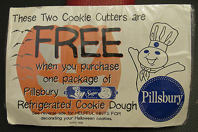 1996 2 Pillsbury Dough Boy Halloween Cookie Cutters In Package -NEW Old Stock