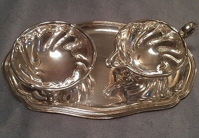 830 Sterling Silver Tray With Cream and Sugar Bowl Norsk Filigransfabrikk Lion