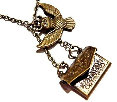 HARRY POTTER OWL PENDANT bronze Hedwig Hogwarts acceptance letter necklace HP R6