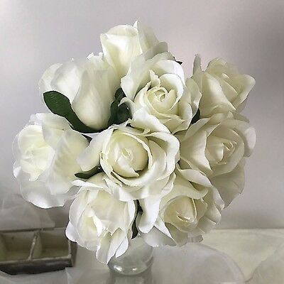 Silk wedding bouquet white rose flower pre made posy bouquets fake flowers