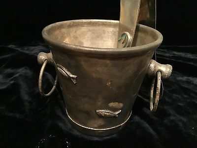 """Los Castillo Taxco hand made silver plate ice bucket with tongs abalone inlay 4"""""""