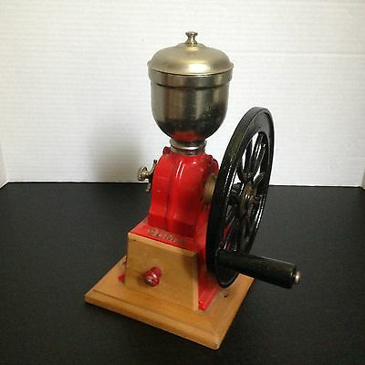 "Antique Elma Cast Iron Coffee Grinder 1920s-30s - 7 5/8"" wheel Made in Spain"
