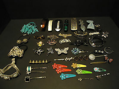 Big Lot of 48 Vintage Hair  Barrettes Clips Bobby Pins Pony Tail Holders