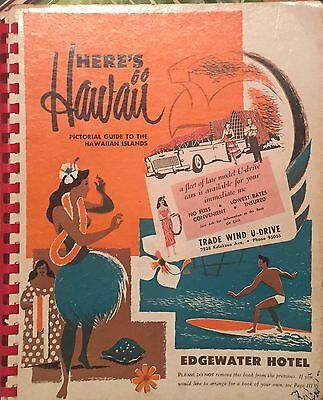 Vintage 1950 Hawaii Travel Book Pictorial Guide Ads Hotels Attractions