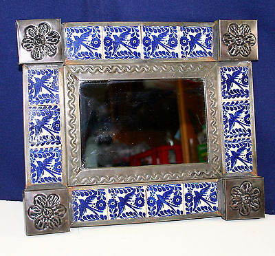 Mexican Folk Art Small TILE MIRROR * Hand Decorated Blue Birds on White Tiles *