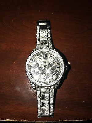 Michael Kors Silver Diamond Bezzeled Watch (Unisex)
