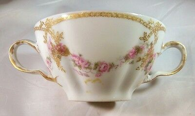 Haviland Limoges France Pink Roses Gold Bouillon Consomme Bowl Double Marked!