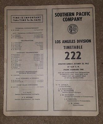 Southern Pacific Company Los Angeles Division Timetable 222 October 28, 1962