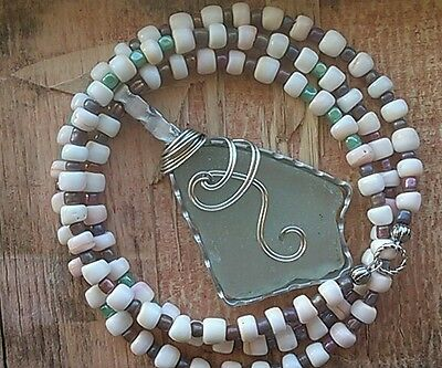 "Sea Glass Jewelry Necklace 29"" Handmade BEACH Hawaii Pink White Conch Sea Shell"
