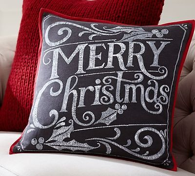 Pottery Barn Merry Christmas Chalkboard Pillow Cover  New