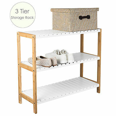 3 Tier Shoe Rack Storage Organiser Footwear Stand Shelf Bamboo and MDF AU Stock