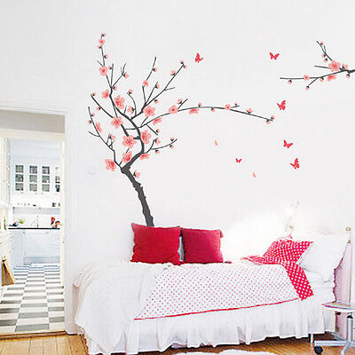 Removable Blossom Flower Butterfly Vinyl Art Decal Wall Home Sticker Room Decor
