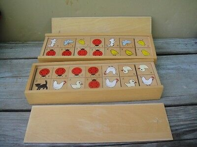 2 Vintage Toy Children's Wood Animal Dominoes Block Dovetailed Box SET