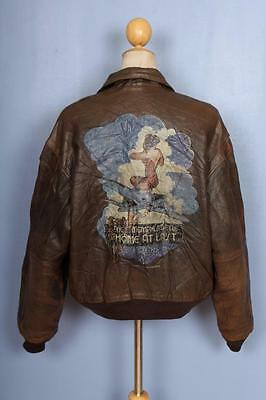 Vtg AVIREX A-2 'Memphis Belle' USAAF Flight Leather Jacket Medium/Large