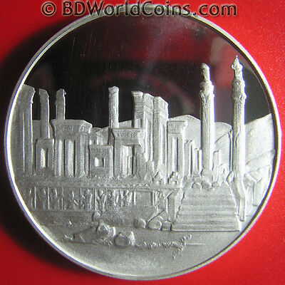 1971 Iran 100 Rials Silver Proof Palace Persian Empire Superb Details! Rare Coin