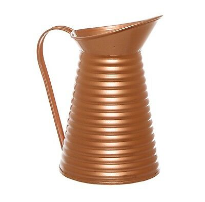 New Rustic Tin in Copper Pitcher Jug Farmhouse Urban Country Feel Ribbed