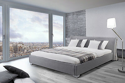 Bed king size, 160x200 cm, upholstered, fabric, grey