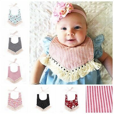 Baby Infant Girls Boy Kids Tassel Saliva Towel Bandana Triangle Bibs Feeding