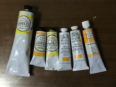 Gamblin and Winsor & Newton Assorted Yellow Color Oil Paints