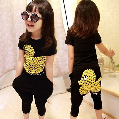 2Pcs Baby Girls Kids Clothes Yellow Duck Pattern Tops + Pants Outfits Dress Sets