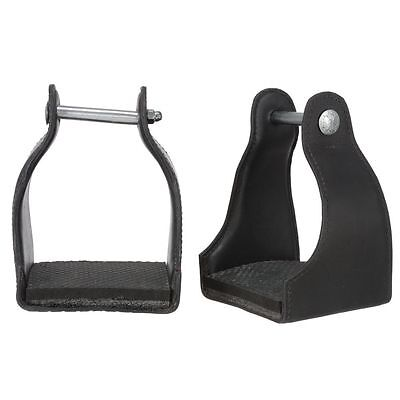 Tough 1 Royal King Leather Covered Padded Endurance Horse Stirrups Pair Black