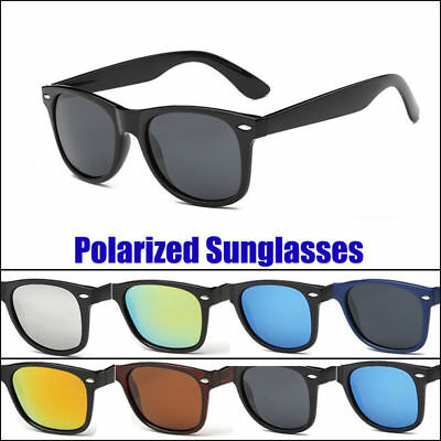 Retro Black Frame Polarized Sunglasses Men Women Designer Large Vintage Glasses