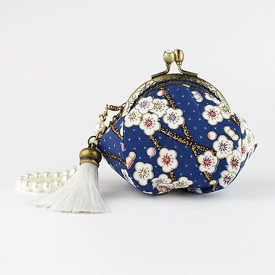 Collectable #0114: Handmade Gold Embossed Blue Japanese Plum Blossom Coin Purse